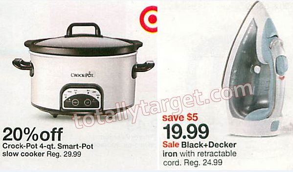 target cartwheel offers available to save on home appliances including ones to save up to 20 off black decker irons crockpot slow cookers