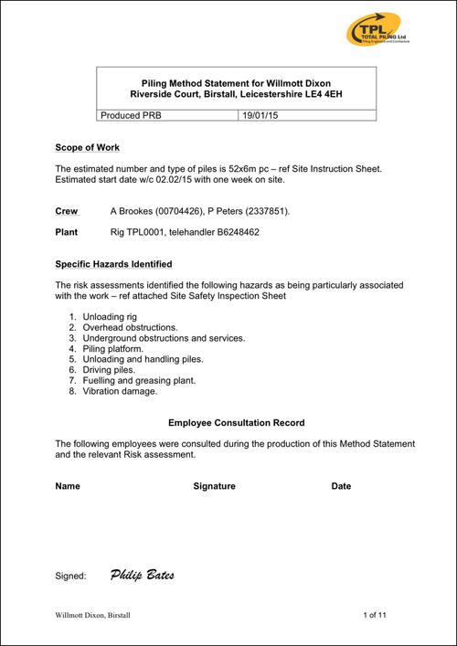 Sample Method Statement - TPL Mini Piling Specialists UK - method of statement