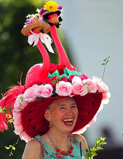 #1 crazy weird funny stupid 2012 kentucky derby hats flamingo hat