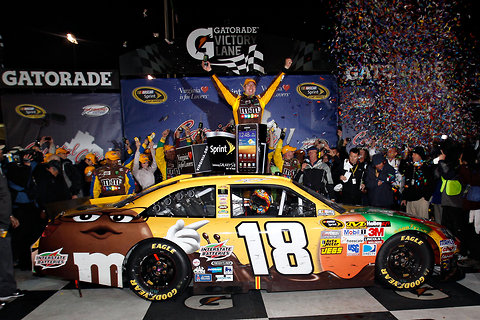 Sean Gardner/Getty Images Kyle Busch, celebrating his Nascar Sprint Cup victory April 28 at Richmond International Raceway.