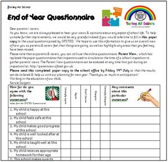 Parent & Pupil Questionnaires « Totley All Saints Primary School