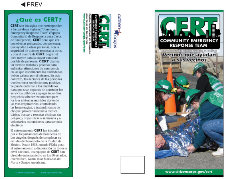 CERT Team, Neighborhood, and Community Pamphlets - pamphlet sample