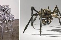 Yayoi Kusama, Untitled (Chair), 1968; Louise Bourgeois, Spider, 1994