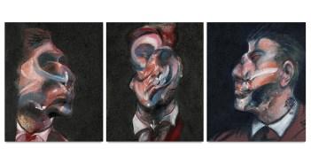 Francis Bacon, Three Studies of George Dyer. Óleo sobre tela, em três partes. Estimativa de vendas entre US$35 e 45 milhões © 2017 Estate of Francis Bacon / Artists Rights Society (ARS), New York, NY.