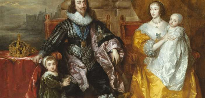 "Detalhe de ""Charles I and Henrietta Maria with Prince Charles and Princess Mary ('The Greate Peece'), 1632, de Anthony van Dyck"