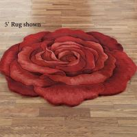 Raelyn Red Rose Flower Shaped Rugs