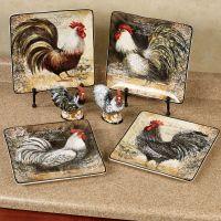 Vintage Rooster Dinner Plate Set