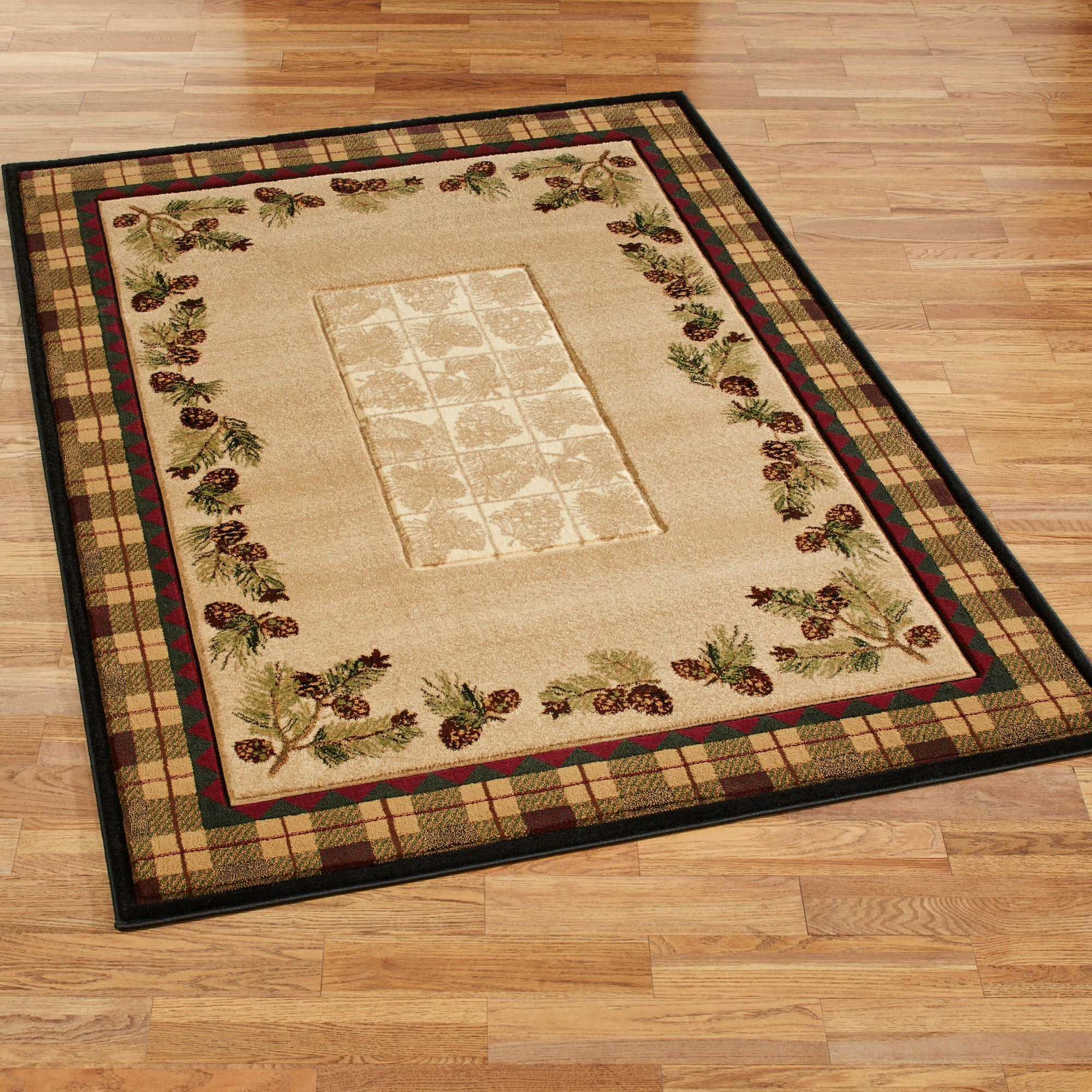 Winter Pines Rustic Pine Cone Area Rugs