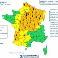 Canicule. 43 départements en alerte météo vigilance orange samedi