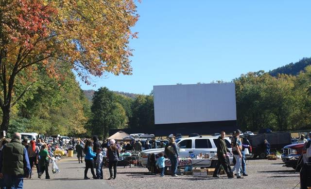 view of Garden-drivein-flea market Hunlock creek, PA with movie screen
