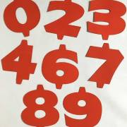 red vintage sign numbers
