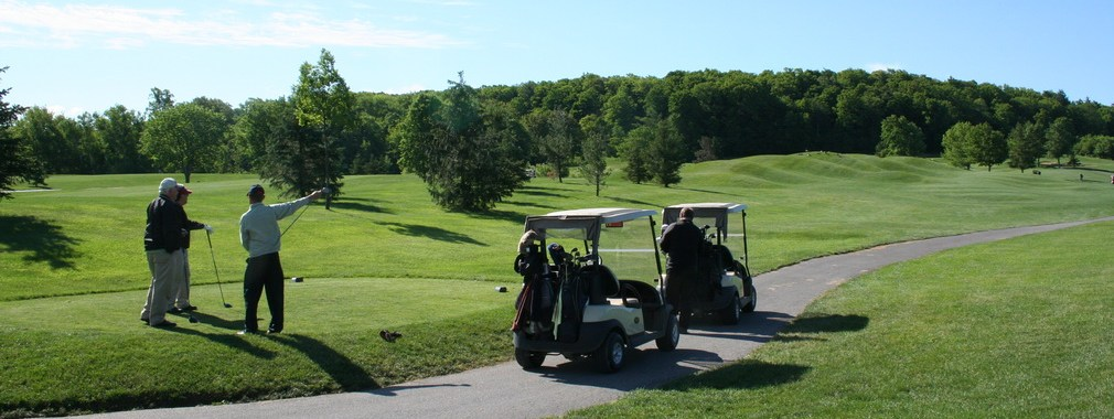 Golfing at Lowville Golf Course with the escarpment in the background