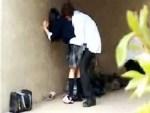 【JK青姦盗撮動画】川原の橋の下で野外セックスをする制服女子校生カップル…可愛いのでマジ裏山ww