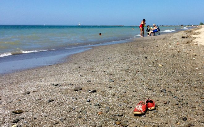 shoes by the shore