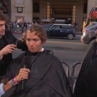 Daniel Radcliffe Cuts Young Man's Hair on Hollywood Boulevard: VIDEO