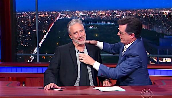 Jon Stewart takes on Trump, Fox News behind Colbert's desk