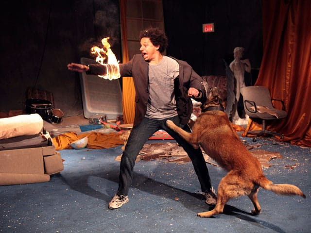 eric andre bisexual with dog on set
