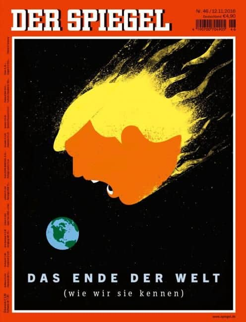"""This is Der Spiegel's cover artwork for an issue themed around """"The End of the World,"""" which came out on Nov. 12, 2016. Credit: Courtesy of Edel Rodriguez"""
