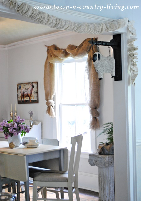 No-Sew Landscape Burlap Swag Curtains - Town \ Country Living - swag curtains for living room
