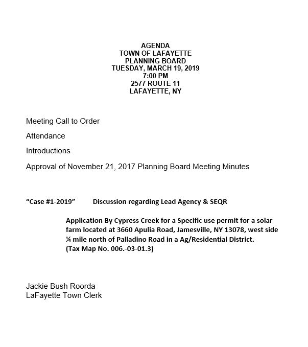 Meeting Minutes  Agendas - Town of LaFayette, NY