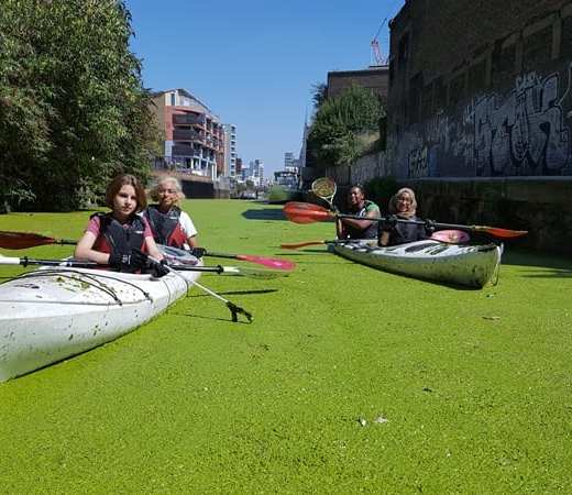 Spotlight volunteers on (a duck weed covered) Limehouse Cut