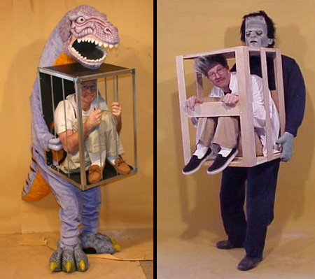 man in cage with dinosaur