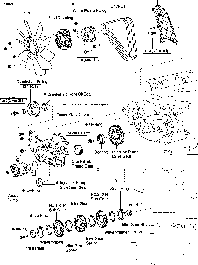 toyota hilux engine parts diagram
