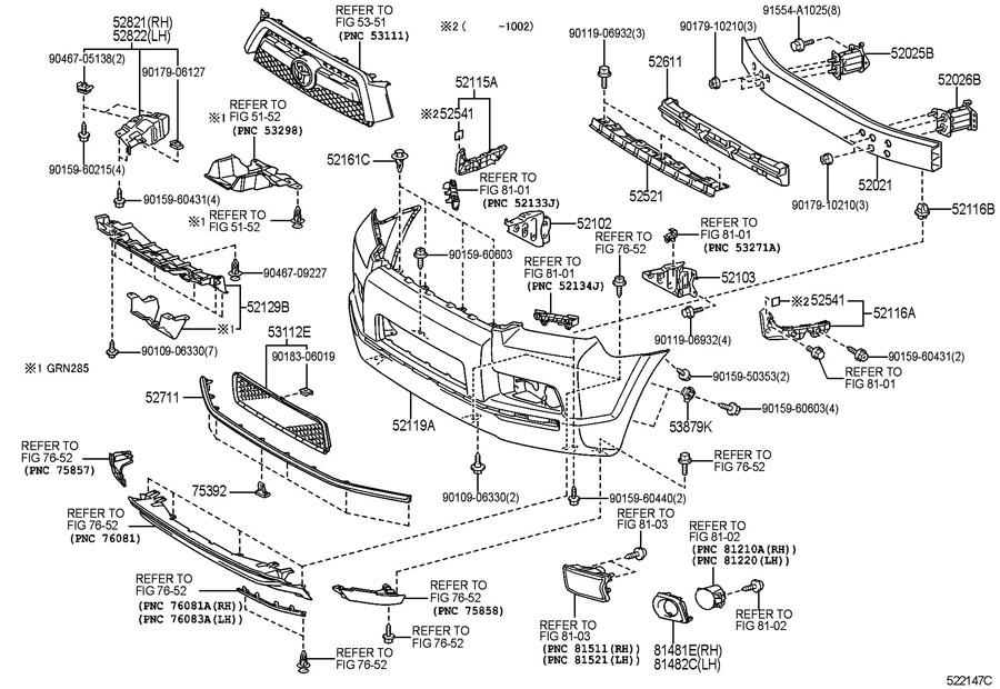 2000 toyota 4runner front bumper auto parts diagrams