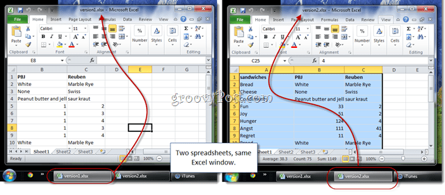 two excel spreadsheets same window