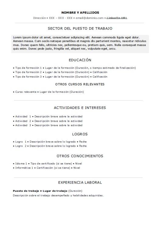 Vistoso Formato De Currículum Cna Sin Experiencia Componente ...