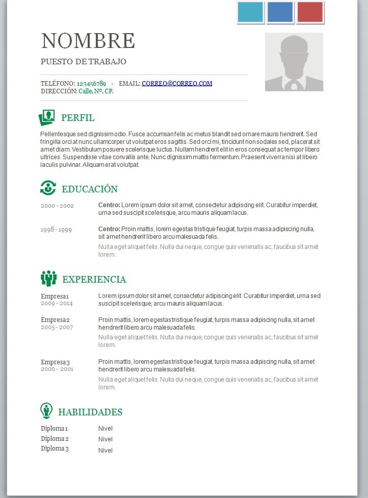 Modelos de currículum vitae en word para completar \u2013 trabajemos