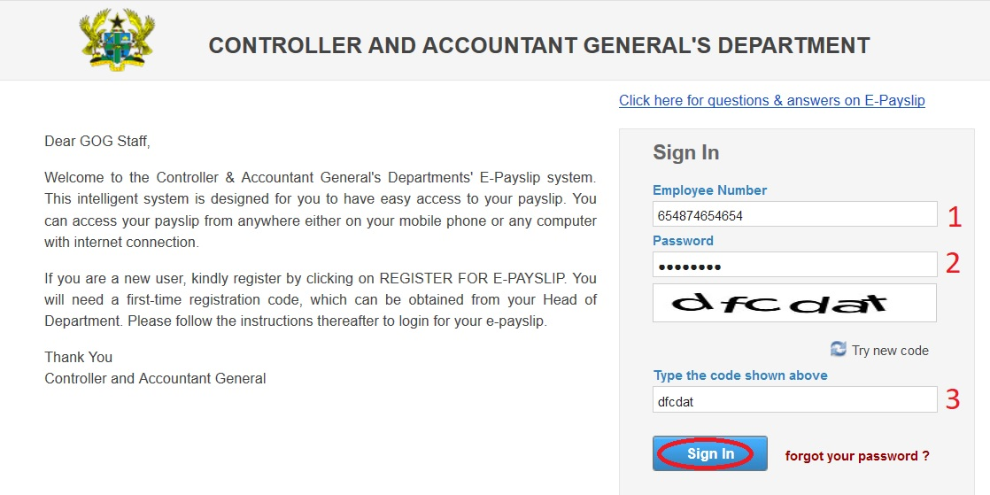 gogpayslip View E-Payslip Online Ghana  Controller  Accountant