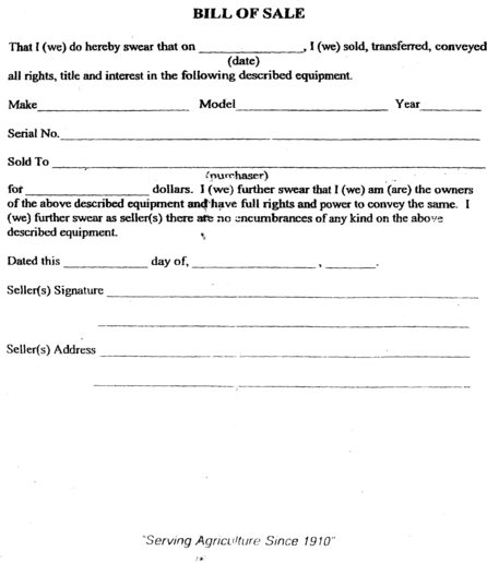 Bill of Sale for Tractor - Yesterday\u0027s Tractors