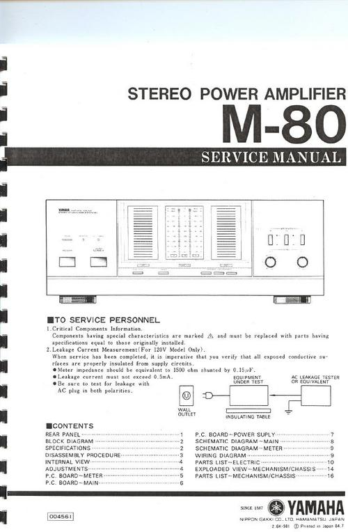 Yamaha M-80 Power Amplifier , Original Service Manual - Download Ma