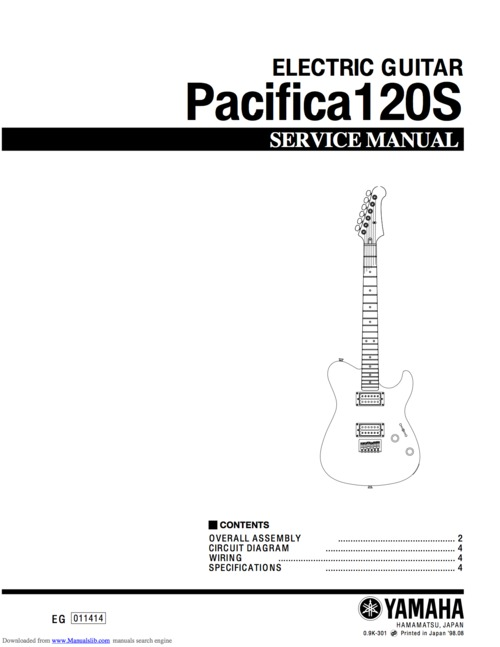 Yamaha pacifica 120s 120 electric guitar full service manual - Down