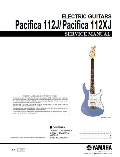 Yamaha pacifica 112J 112XJ 112-j 112-xj full service manual - Downl