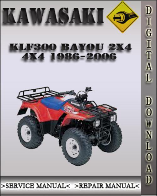 kawasaki 2002 2003 2004 klf300 bayou 300 repair service manu