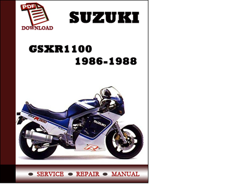 suzuki gsxr1100 1986 1988 repair service manual pdf