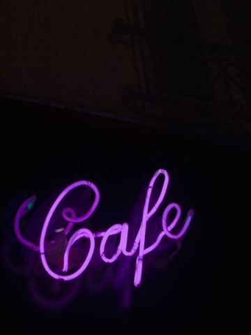 Cafe, neon lettering, Paris, France, Europe - Download Abstract