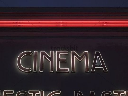 Cinema, neon lettering on a movie theater, Paris, France, Europe -