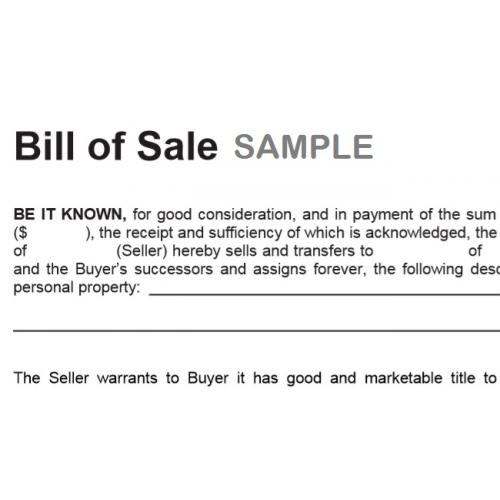 Bill of Sale Form instant download / TradePongo