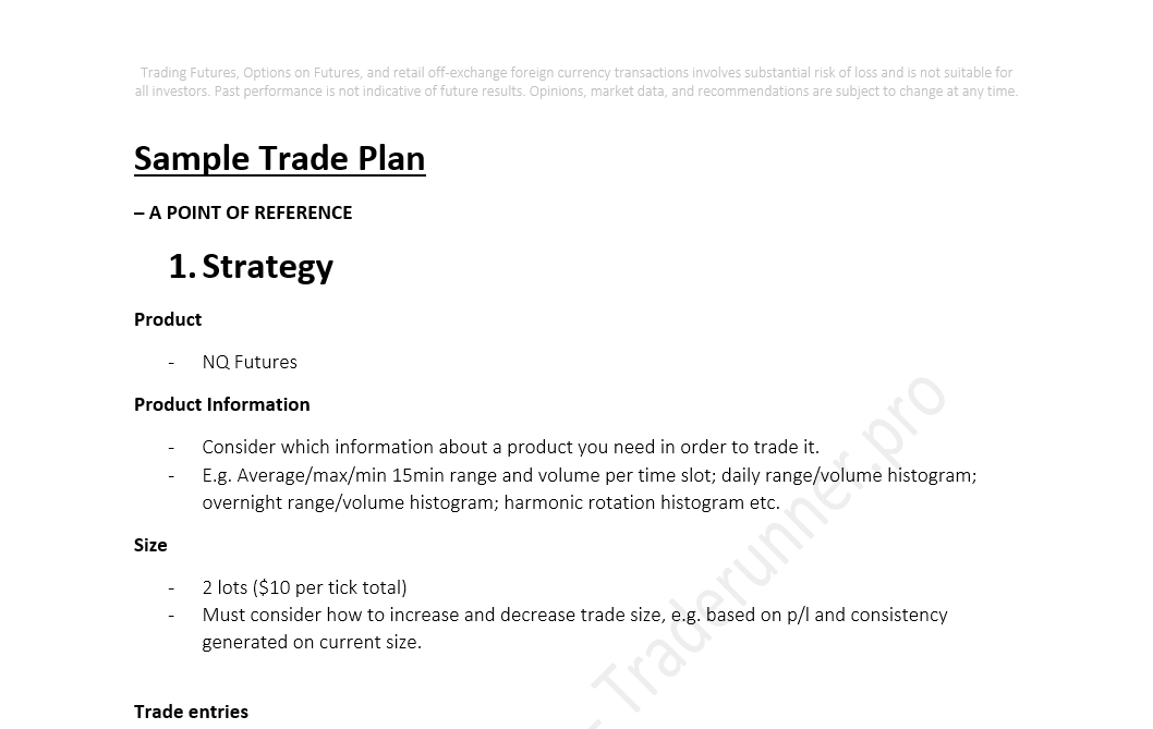 Sample Futures Trading Plan - futures broker sample resume