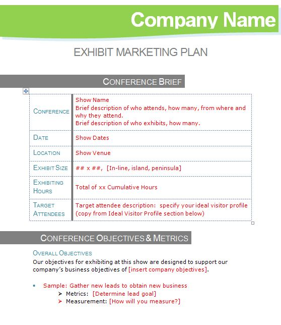 Exhibit Marketing Plan Template \u2013 Tradeshow Turnaround - marketing plan template