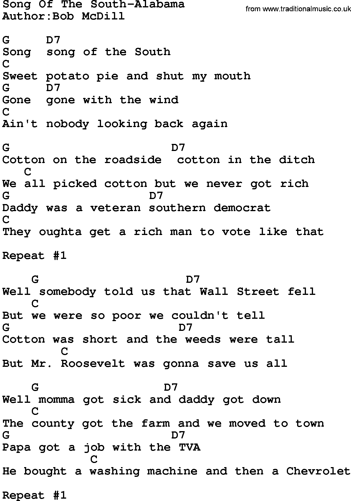 Guitar Chords For Song Of The South Ltt
