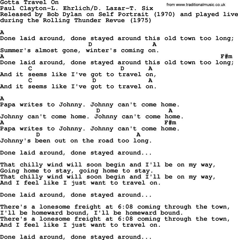 Bob Dylan Gotta Travel On Chords | Anexa Creancy