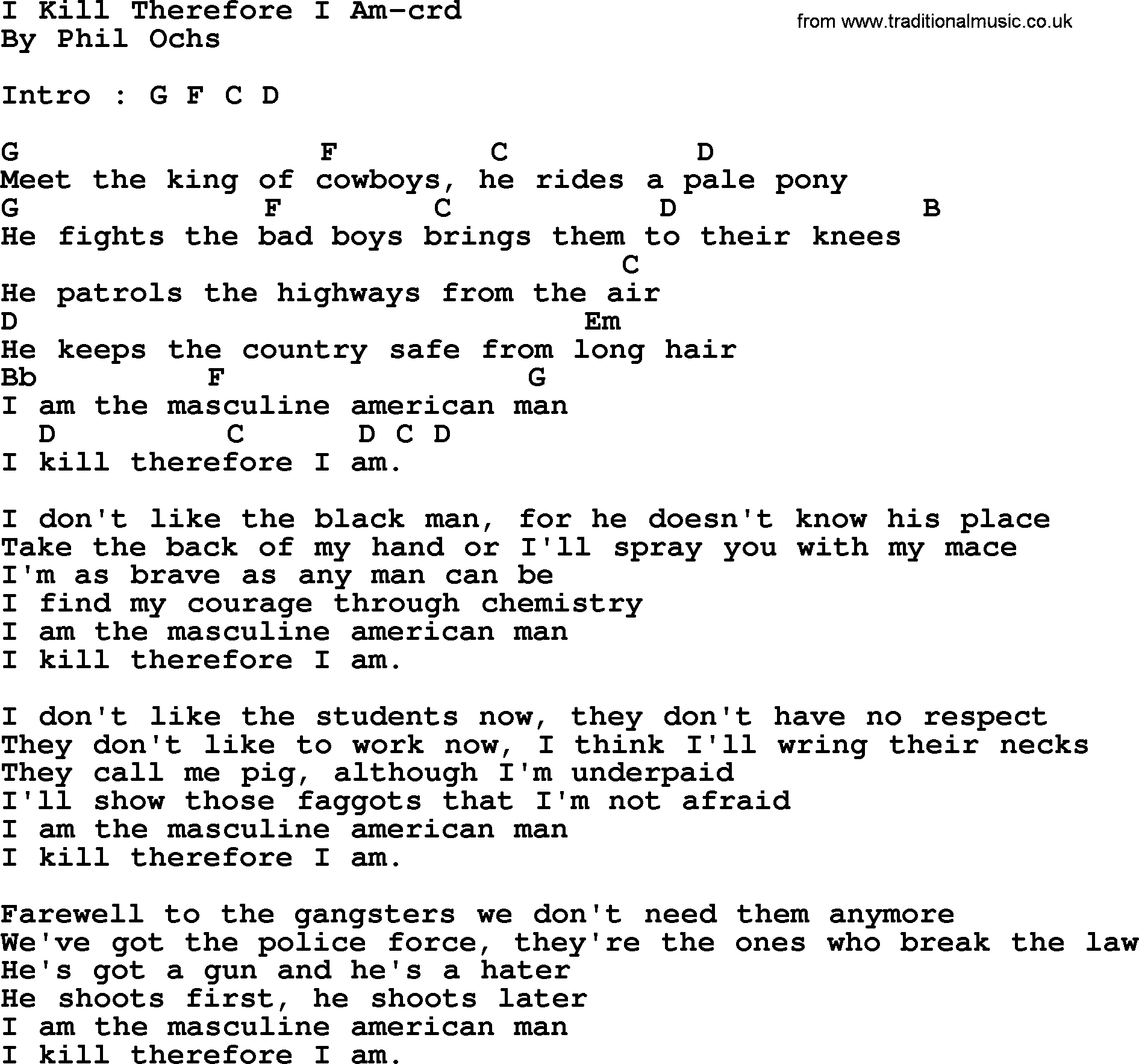 Be not afraid guitar chords gallery guitar chords examples songbook guitar chords phil ochs song i kill therefore i am lyrics and chords fatherlandz gallery hexwebz Gallery
