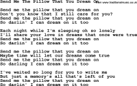 Willie Nelson song: Send Me The Pillow That You Dream On ...