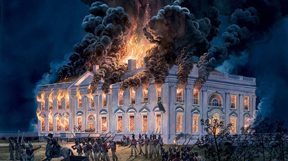 The white house burning in the war of 1812.