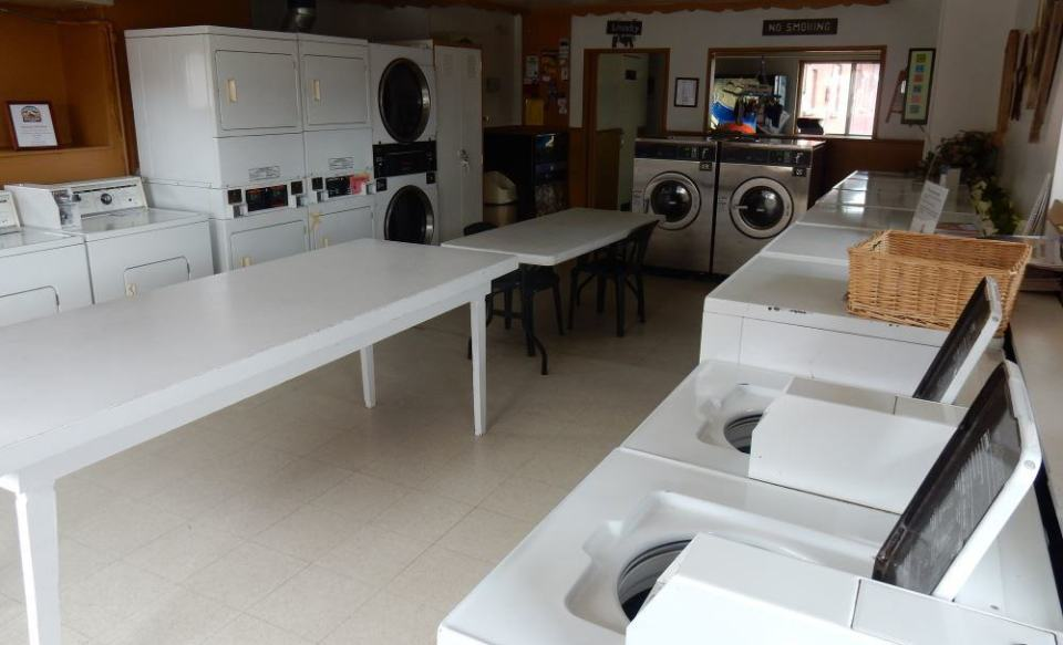 It may not be pretty, but it's the most functional laundry we have yet encountered.