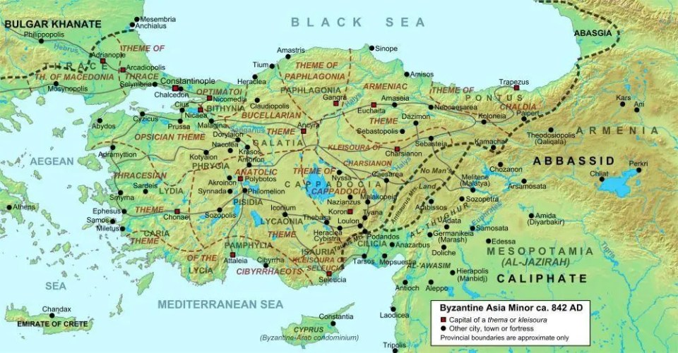 A map of Anatolia, now Turkey, during the Byzantine Empire.